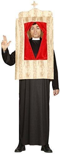 Herren Beichtstuhl Religiös Katholische Bekenntnis Stand Lustige Neuheit Junggesellenabschied Priester Heilige Vater Kostüm Kleid Outfit - Schwarz, (Kostüme Katholischen Heiligen)