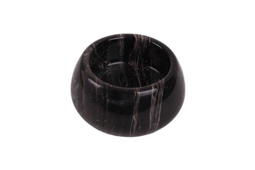 Yuchengstone Coque Bol décoratif Très élégant Massif marbre Noir Oblique comme à Fruits ou saladier, Noir, Ø ca.17 cm