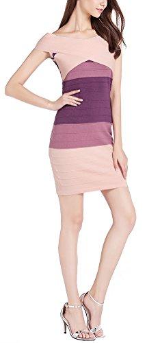 MILEEO Damen Etuikleid Figurbetonte Kleider Wickelkleid Kurz Schulterfrei Bandage mit Stretch Gestreift Rosa