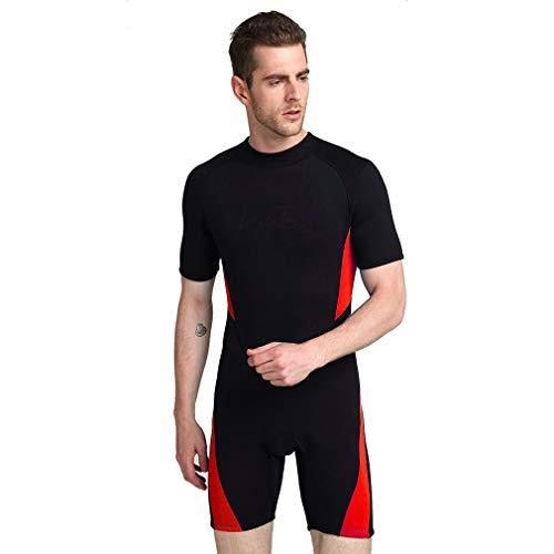 EMEIJIA Mens 3MM Wetsuit Shorty Suit, Neopren Wassersport Neoprenanzüge - Ideal zum Kajakfahren, Tauchen,Red,6XL -