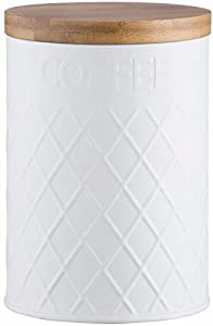 Typhoon Living Embossed Coffee Storage Canister, Stainless-Steel, White, 11.5 x 11.5 x 16 cm