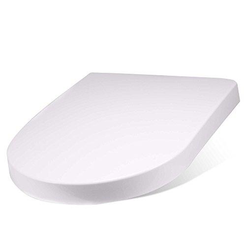 BANJADO Design Toilettensitz mit Absenkautomatik, WC-Sitz weiß, Klodeckel mit Edelstahl Scharnieren, Toilettendeckel