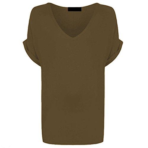 Damen mit V-Ausschnitt Baggy Maxi- Fit Turn Up Sleeve Top EUR Größe 36-54 Mokka