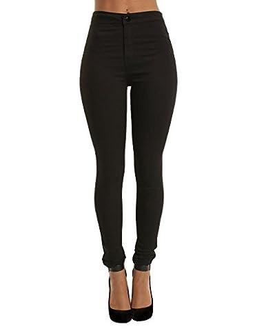 Yidarton Femme Pantalon Taille Haute Slim Cigarette Skinny Élastique Longueur Cheville Jeans (M, Noir)