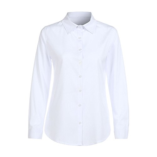 LHWY Bluse Damen Elegant, Frauen Langarm Shirt Mode Formal Office Arbeitskleidung Uniform OL Casual Top Slim Fit Sommer Kleidung t-Shirts Casual (M, Weiß)