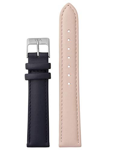 laVIIDA Uhrband LB-SVI2022S Ersatzband Uhrband Leder 18 mm Rosa-Dunkelblau-Silber