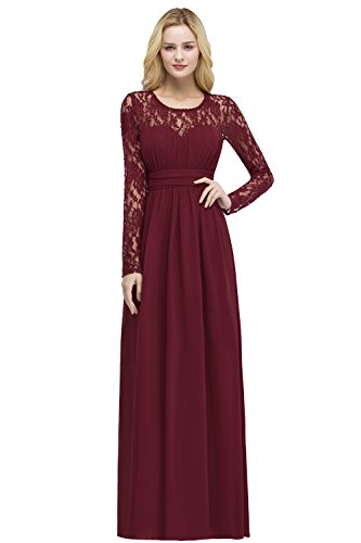 Damen Elegant Spitzen Abendkleid Trauzeugin Kleid mit Feiner Blumenstickerei Lang Weinrot 40