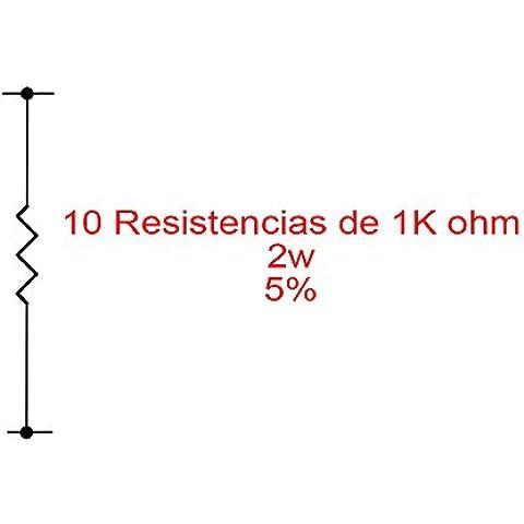 Red_Planet 10X Resistencias de carbón 1K 1000 Ohm 2W 5%