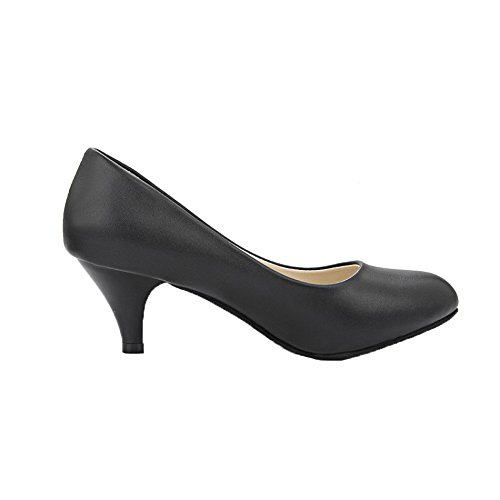 AgeeMi Shoes aux Femmes Tire PU à Talon Correct Chaussures Légeres Noir