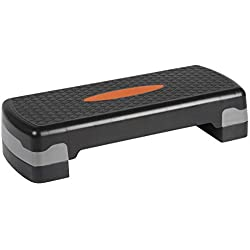 Ultrasport Horse Rider Step/Stepper de aeróbic, Negro/Naranja, Altura Regulable