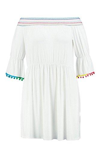 Damen Elfenbein Plus Tara Ausgestelltes Kleid Mit Stickerei Elfenbein