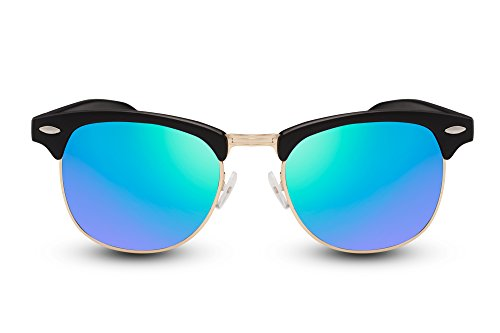 Cheapass Sonnenbrille Schwarz Verspiegelte Gläser UV400 Festival Must-Have Damen Herren