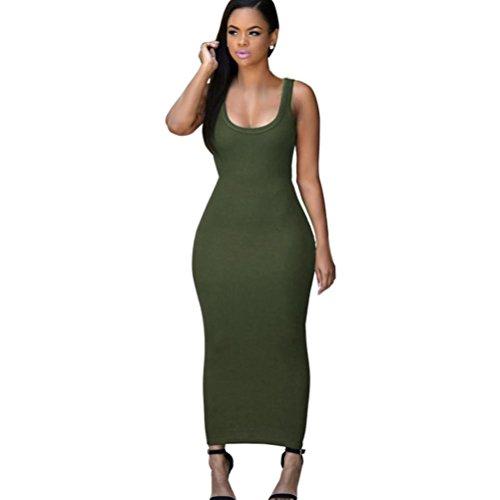 ❤️ Damen Abendkleid Cocktail Maxikleid, ❤️ Damen Party Club Kleider Bandage Kleid | ❤️ Schulter Faltenrock | 50er Vintage Retro Kleid | Kleidung Unter 10 Euro | Sommerkleid (S, Armeegrün) -