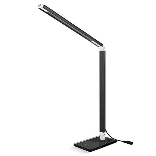 LED Schreibtischlampe Deckey Schreibtischlampe 3 Heiligkeitsstufe LED Tischlampe 6W dimmbar Schreibtischleuchte Leselampe (Schwarz) [Energieklasse A++]