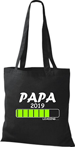 Baumwolltasche Stoffbeutel ShirtInStyle PAPA 2019 Schwarz Loading d5d6A