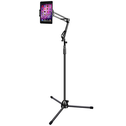 Nugoo Stativ Smartphone Tablet Bodenständer, Verstellbarer Handyständer mit langem Arm, kompatibel mit Lampen-Design Ständerhalterung für 10,2 cm - 25,4 cm Geräte, maximale Höhe 19,7 cm, schwarz -