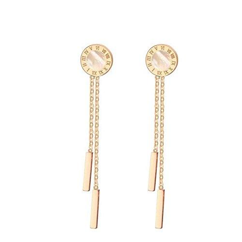 Herr Kostüm Becher (SanJiu Schmuck Damen Ohrhänger Charme Ohrring Römische Ziffern Ohrhänger Ohrringe Edelstahl Ohrschmuck für Damen Mädchen Ohrringe Rose Gold Lang:)