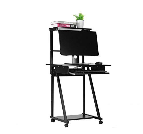 GFDEHG Doppelschichten Haushalt Computertisch Laptop Tisch Mobile Rolling Wheel Stand Workstation Hölzerne Computertisch -