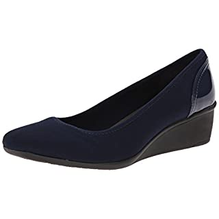Anne Klein Sport Women's Wisher Fabric Wedge Pump, Navy, 6.5 M US
