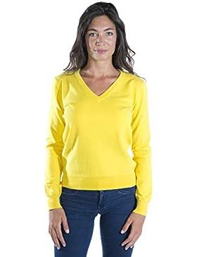 MY BASIC Jersey Cuello en V en Algodon para Mujer