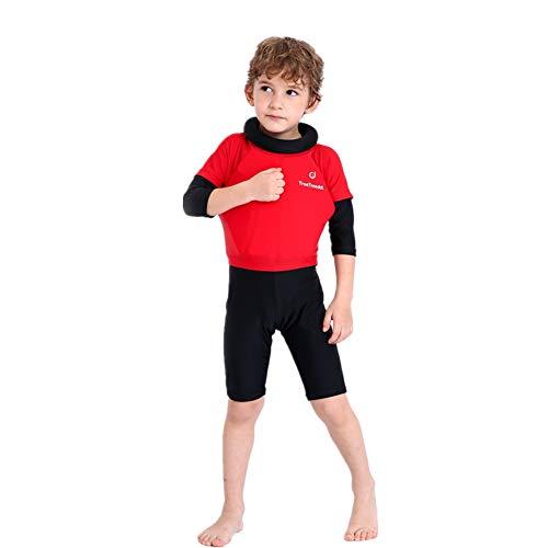 YAGATA Junge Float Suit, Kinder Bojen-Badeanzug, Badeanzug mit Schwimmhilfe, Training Swimwear Bojenanzüge für Strand Baden Kleinkind/Kinder, Rot, 8T