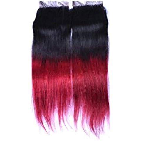 XQXHair Vendita calda 8a Ombre brasiliano capelli frontale chiusura Ombre tessere 1b / 99j # (Eterna Nodo)