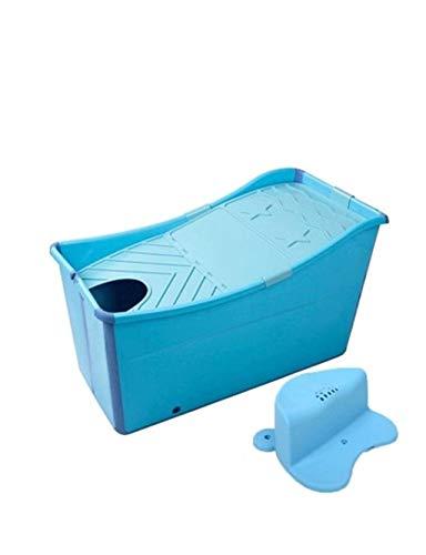 ESPERANZAXU Blaue Faltbare Badewanne Badewanne für Erwachsene Kinder Baby Kleinkind (56cmx50cmx98cm) (Color : Blue)