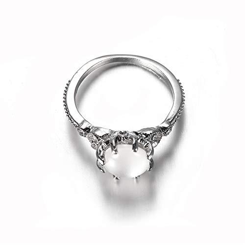 Beiswin Einfache Opal Silber Ringe Runde Mondstein Strass Fingerring Größe 6-10 für Weibliche Weihnachten Geburtstagsgeschenk ()