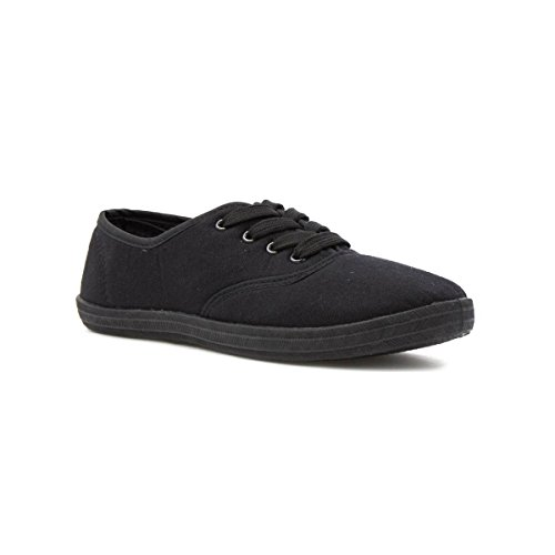 Zone - Womens Plain Lace Up Canvas Shoe in Black - Size...