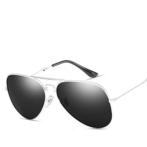 Ruanyi Polarisierte Sonnenbrille, Sonnencreme UV400 Metall Classic TAC Fashion Driving Pilot Style für Frauen Männer (Color : Silver+Full Gray)