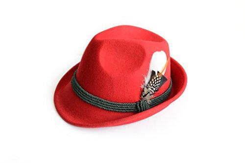 Trachtenhut aus 100% Wolle mit echter Feder, Farbe rot Gr. 57