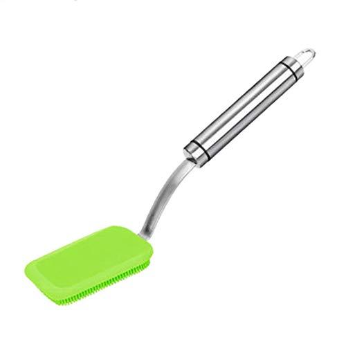 Lionina Silikon-Spülbürsten-Reinigungsbürsten-Set, Edelstahl-Langstielwaschbürste zum Reinigen von Antihaft-Topfpfannenschalen, Wassertassen, Kaffeetassen(Green) Green Food Storage