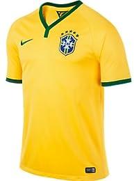 Nike Men's Brasil CBF Maillot à manches courtes pour homme Motif matches à domicile Jaune Jaune maïs/vert pin