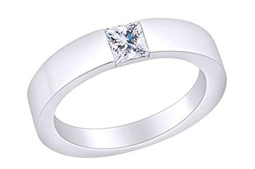 AFFY - Gold 14 Karat (585) 14kt Weiß-Gold Prinzessschliff Leicht Getöntes Weiß/Crystal (J) Diamant (Gold Herren 14kt Ringe)