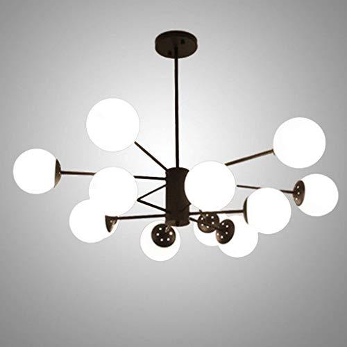Xiao Yun ☞ * 12 Lights Moderne Sputnik Kronleuchter, LED schwarz Mid Century Pendelleuchte Vintage Industrie Glas Bauernhaus Deckenleuchte 70 * 94CM ☜ - Stahl Zwölf Light Kronleuchter
