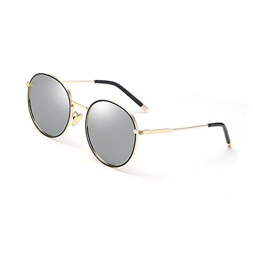 Sonnenbrille Sonnenbrille weibliche polarisierte Sonnenbrille runden Gesicht koreanischen Spiegel UVA UVB Travel Shopping Party Drive (Farbe : Gold Frame Mercury)