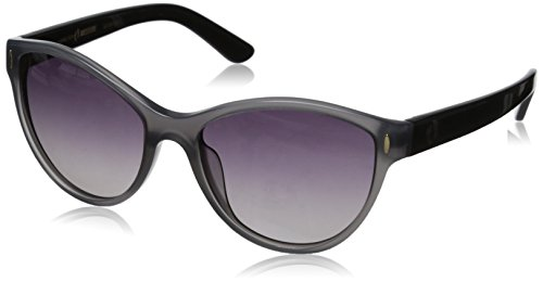 Hang Ten Gold Women's Fashionable HTG1021 C1 Polarized Round Sunglasses, Grey & Shiny Black, 55 mm
