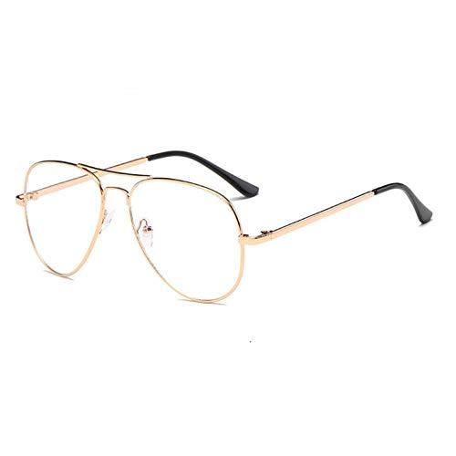 Taiyangcheng Dame Sonnenbrillen Frauen männer klare linse Spiegel Sonnenbrille für weibliche Brille,C08 Gold Durchsichtig