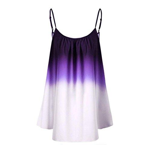 Challeng Damen Tops, Shirts Damen Sommer,Damen Tank Top Lässig Gradient Sleeveveless Cami Schatten Top Trimmen Bluse (EU-L, Lila)