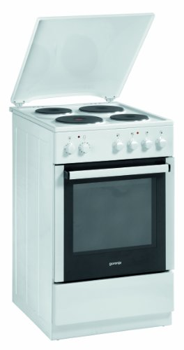 Gorenje E 57120 AW Elektroherd mit emaillierter Kochmulde / A / 48 L / weiß / AquaClean (Temperatur-begrenzer)