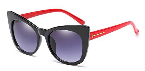 Muxplunt - Sonnenbrille Frauen Big Cat Eye Rahmen Luxuxmarken Sonnenbrillen Sunnies Shades 7 Farben Classic Retro Dame Sunglass Oculos [Red Leg]
