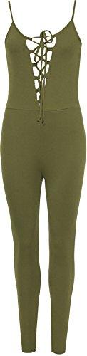 WEARALL Femmes Dentellets Cravate Avant Combinaison Dames Plein Longueueur Pantalon Sans Manches Plainee - 34-40 Vert Kaki