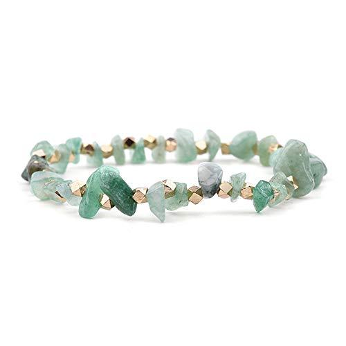 ZUXIANWANG Armband elastisch Unregelmäßigen natürlichen Edelstein Strang Armbänder Frauen handgefertigte Quarz Coral Chic Stretch Chip Armband Grün Jade (Jade-chip-armband)