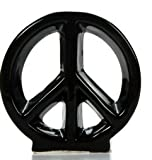 "Hosley 5.5"" Black Ceramic Peace Sign / Table Top. Ideal Gift for Wedding or Special Occasion, Spa, Meditation, Reiki, Dorm O6"