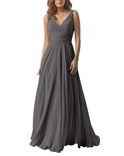 Carnivalprom Damen Chiffon Abendkleider Für Hochzeit Elegant V-Ausschnitt Brautjungfer Kleider Ballkleider(Grau,48)