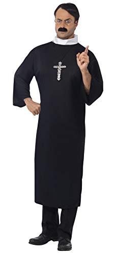 Smiffys, Herren Priester Kostüm, Robe und Kragen, Größe: M, ()