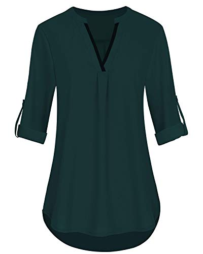 3/4 Ärmel Plus Size Bluse (SOLERSUN Blusen für Frauen Work Casual, Ladies 3/4 Roll up Sleeve Plus Size Business Bluse V-Ausschnitt Fit Arbeitshemd Dunkel Blau XXL)