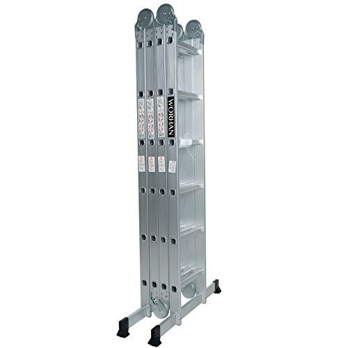 WORHAN 6.7m Échelle Aluminium Multifonction Modèle GROSSE CHARNIÈRE Polyvalente Escabeau Échafaudage Multi-usage ALU Modulable Pliable KS6.7