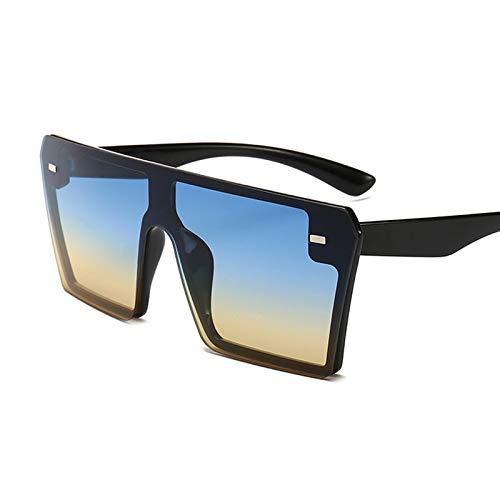 LXXSSRA Sonnenbrille Übergroße Quadratische Sonnenbrille Frauen Luxusmarke Mode Flat Top Rot Schwarz Klare Linse One Piece Männer Schatten Spiegel Uv400 6