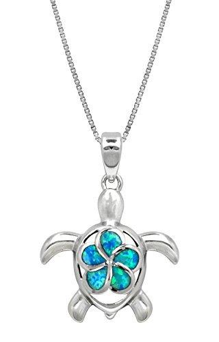 Sterling Silber Schildkröte Halskette Anhänger mit simulierte blau Opal Flower 18Box Kette von Honolulu Jewelry Company